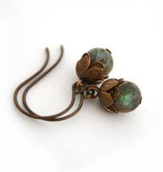 Twilights Pretty Petals - vintaj art earrings