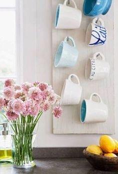 House Of Turquoise, Mug Holder, Mug Rack, Coffee Mug Storage, Coffee Cups, Coffee Mug Display, Coffee Maker, Coffee Beans, Diy Kitchen Storage