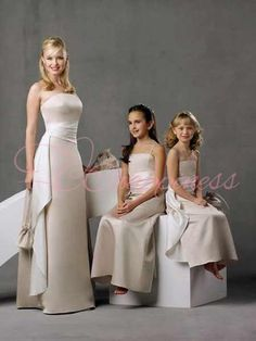 Modest Ivory Strapless Sash Long Bridesmaid Dress Under 100
