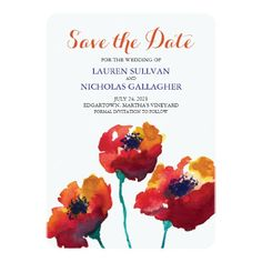 Watercolor Poppy Flowers   Save the Date