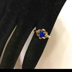Antique 14k Yellow Gold 1 ct Blue Sapphire Buttercup Engagement Ring - 14k Victorian 1ct Sapphire Solitaire Ring - Blue Sapphire 14k Ring by GranvilleGallery on Etsy