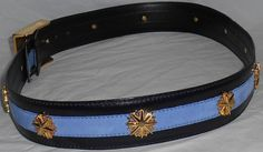 ESCADA Vintage Belt SOLD! 44 14 Blue Leather Suede Gold Stars SnowFlakes Charms Haute