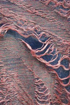 glitchKnit Knitwear Fashion, Knit Fashion, Textile Texture, Textile Art, Boro, Textile Manipulation, Creative Textiles, Weaving Textiles, Fashion Details