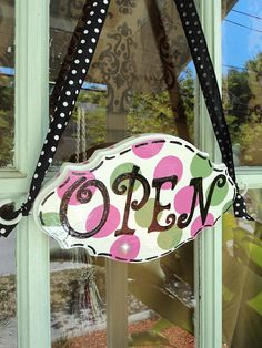 French Boutique Shop Sign Open Closed reversible by HairBowHolders, $59.95