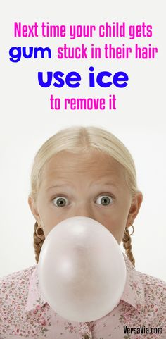 When gum gets cold and hardens, the sticky adhesive properties of it stops taking effect, allowing you to pull the gum from your child's hair without any pain. Simply wedge the piece of gum in between a couple cubes of ice and wait until it hardens. Afterwards you should be able to pull the piece out without too much fuss.