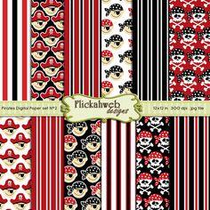 Set 2  Digital Pirate skulls papers 12x12 Red Black by flickahweb, $3.00