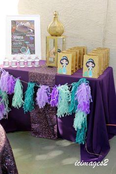 Aladdin Themed Princess Birthday Party via Kara's Party Ideas KarasPartyIdeas.com Party supplies, tutorials, recipes, printables, cake, and more! #princessparty #princessjasmine #aladdinparty #aladdinpartyieas #princessjasmineparty (20)