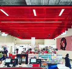 Ceiling decoration of Target Stores with Bencore Hexaben small red clear panels