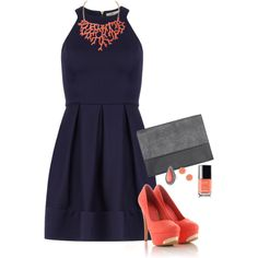 """Navy and Coral Date Night"" by misstinamaria on Polyvore...Amazing! But I'd swap the peach nail polish for a different color...maybe bright yellow/blue or red :)"