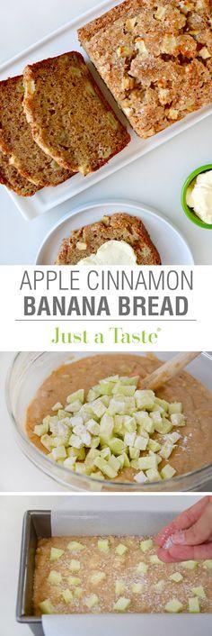 Apple Cinnamon Banana Bread #recipe via justataste.com