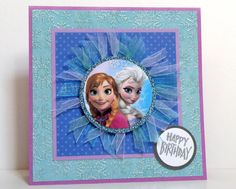 Frozen Anna and Elsa Handmade Kids Birthday Cards by k8cards