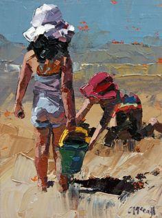 "Daily Paintworks - ""Sandcastles Petite"" - Original Fine Art for Sale - © Claire McCall Colorful Paintings, Contemporary Paintings, Beach Artwork, Impressionist Paintings, Traditional Paintings, Fine Art Gallery, Klimt, Original Paintings, Art Prints"