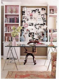 Inspire Bohemia: Home Offices and Craft Rooms Part II  kos: love the color in the shelves and the couch on the right Office Desk, Home Office, Floating Glass Shelves, Wall Shelves, Prayer, Wall Mount, Arms, Office Interior Design, Office Interiors