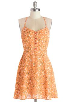 A Capella Open Mic Dress - Woven, Short, Orange, Multi, Floral, Backless, Buttons, Casual, Sundress, A-line, Spaghetti Straps, Good, Spring