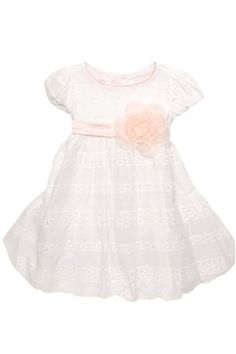 Biscotti Elegant Eyelet Girl's Puff Sleeve White Dress With Sash - Who could resist a dress made with beautiful eyelet insets. This charming look in a pure shade of white is accented with a pink silk sash.
