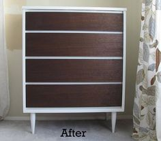 white paint and wood stain to update and modernize an old thrifted dresser