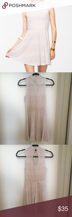 """Need Supply Mock Turtleneck Fishnet Dress, size S Need Supply Webb Dress in White Fishnet, size Small. Mock turtleneck skater dress with cute button and keyhole cutout detail. 50% polyester, 50% cotton. Best to wear nude undies so nothing shows underneath. I'm 5'3"""" and this hits just above my knees. No pockets. In good used condition. Ships from a smoke and pet free home. Audrey 3+1 Dresses"""
