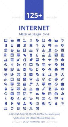 125+ Internet Material Design Icons. Download here: https://graphicriver.net/item/125-internet-material-design-icons/17673931?ref=ksioks