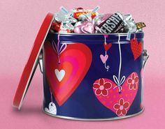 Valentine's Day Gift Tin filled with HERSHEY'S chocolates - WH Candy Candy Gifts #whcandy
