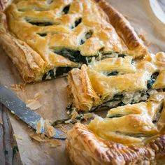Traditional flavours with traditional hand made All Butter Puff Pastry - perfect make ahead mid week dinner - Chicken and spinach slap pie