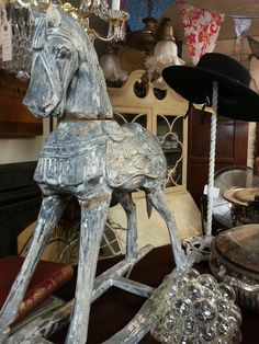 Antique hand carved wooden rocking horse.