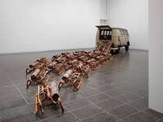 """""""The Pack (Das Rudel),"""" by Joseph Beuys. Would they have really chosen a VW Bus to come out of?"""