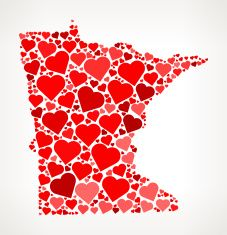 Minnesota Icon with Red Hearts Love Pattern vector art illustration