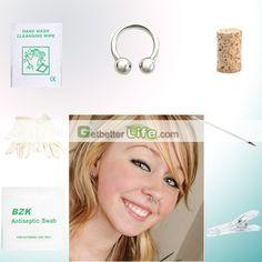 US$1.39 - SterilIized Silvery Ring Rings Body Piercing Jewelry Needle Tool kit