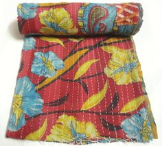 Indian Vintage old Fabric Kantha Quilt Throw old Bengali Ralli Gudari patchwork Throw bed sheet printed hand kantha quilt by textileszone on Etsy