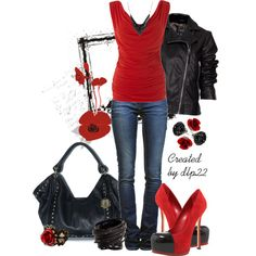 """Black and Red"" by dlp22 on Polyvore"