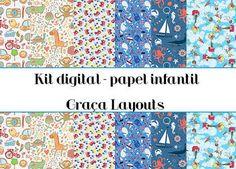 Kit digital papel infantil