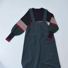 POUDOUDOU  autumn  winter collection ---------------------------------------------------- volume sleeve borderknit 6900tax . . #poudoudou #pdd17aw