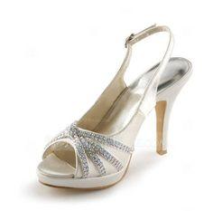 Women's Satin Cone Heel Peep Toe Platform Sandals Slingbacks With Buckle Rhinestone (047005496) - JenJenHouse