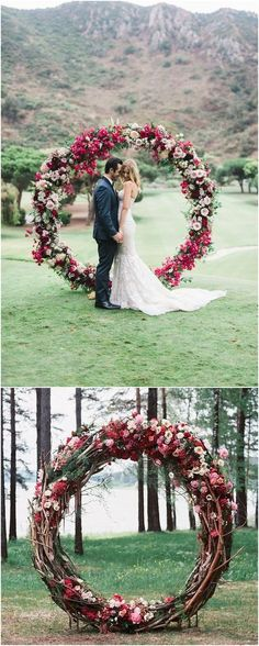 flower and greenery circular wedding backdrop ideas #weddings #weddingideas #weddingdecor