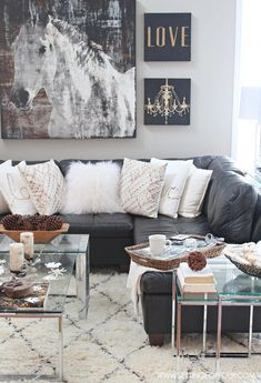 Come see my Rustic Glam living room makeover and new area rug! I'm also sharing Do's and Dont's, decor tips and tricks for choosing an area rug! Glam Living Room, Living Room Update, New Living Room, My New Room, Living Room Decor, Glam Bedroom, Silver Bedroom, Bedroom Rustic, Cozy Bedroom
