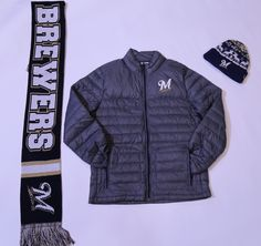 Get this look at the #Brewers Team Store:  Fluffy Jacket- $120.00 Brewers Scarf- $30.00 Men's Knit Hat- $25.00