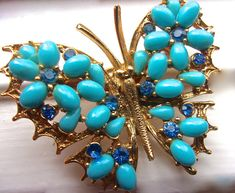 $36 - Turquoise Milk Glass Butterfly Brooch signed ART Blue Rhinestones 1960s