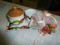 zuccheriera con tazzina dipinto a mano
