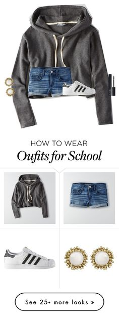 """secretly making a set at school"" by texasgirlfashion on Polyvore featuring American Eagle Outfitters, adidas, Kendra Scott and NARS Cosmetics"