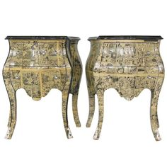 Pair of Rococco style Bombay chests decoupaged with vintage marvel comics embellished with silver mounts on tips of feet and knobs.