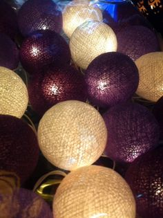 20 x Purple color string light cotton ball party set wedding light paito bedroom living room decor handmade art