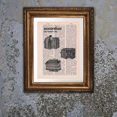 Dictionary Page Print: Vintage Accordion Art by PrintsofRogues