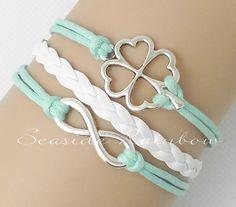 Mint green four leaf clover braceletInfinity by SeasideRainbow,