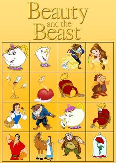 Beauty and the Beast Bingo by PrincessPartyPrints on Etsy