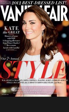 """Kate Middleton from Fashion Police: September 2012 Covers  Also named as one of Vanity Fair's """"Best Dressed"""", it was revealed in the mad that one of the Duchess of Cambridge's beauty secrets include bee venom facials...Ouch!"""