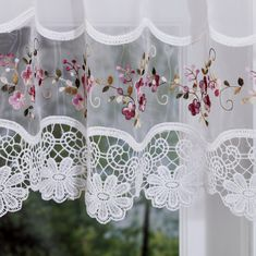 Vintage embroidered rose kitchen curtain valance Image 1 of 2