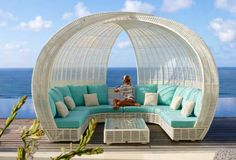 Outdoor furniture for relaxing - rattan lounge beds by Skyline Designs Rattan Outdoor Furniture, Outdoor Daybed, Outside Furniture, Outdoor Furniture Design, Outdoor Lounge, Outdoor Seating, Garden Furniture, Outdoor Spaces, Outdoor Living