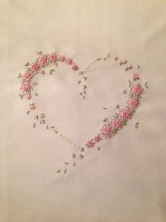Wonderful Ribbon Embroidery Flowers by Hand Ideas. Enchanting Ribbon Embroidery Flowers by Hand Ideas. Embroidery Hearts, Hand Embroidery Stitches, Silk Ribbon Embroidery, Hand Embroidery Designs, Cross Stitch Embroidery, Embroidery Ideas, Bullion Embroidery, Ribbon Embroidery Tutorial, French Knot Embroidery