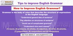 English grammar is the body of rules that describe the structure of expressions in the English language. This includes the structure of words, phrases, clauses, and sentences. Improve English Grammar, English Grammar Online, English Language, Learn English For Free, Grammar Tips, Dyslexia, Sentences, Education, Learning