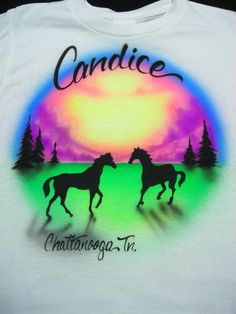 Airbrushed Horses in Field Shirt by airbrushingbytaylor on Etsy, $15.99